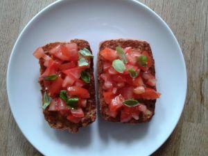 Tomato and basil bruschetta - toasted Schar brown ciabatta roll