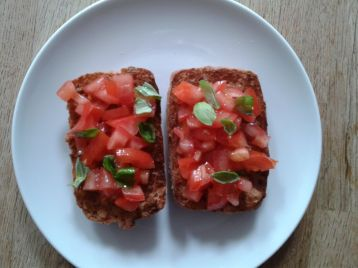 Tomato and basil bruschetta - toasted Schar brown ciabatta roll