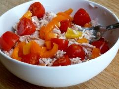 Rice salad - white rice with tuna and mayo, chopped baby plumb