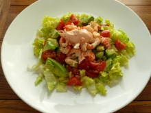 Crayfish salad - crayfish tails, baby plumb tomatoes, shredded