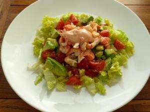 Crayfish salad - crayfish tails, baby plumb tomatoes, shredded