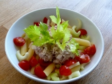 Pasta bowl - gluten free pasta with chopped tomatoes and celery