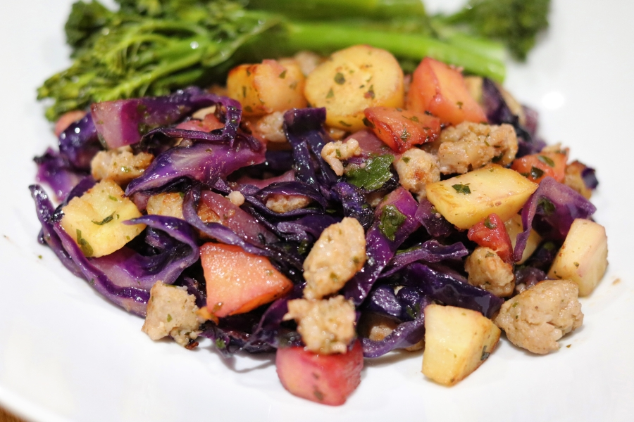 GF Sausage, parsnip and apple hash with red cabbage