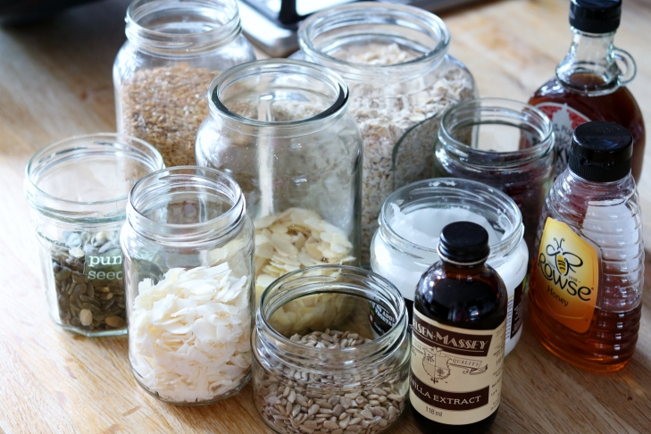 Ingredients for home made granola