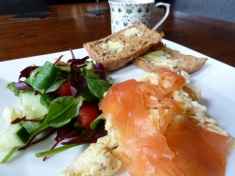 scrambled egg and smoked salmon with toasted Schar roll