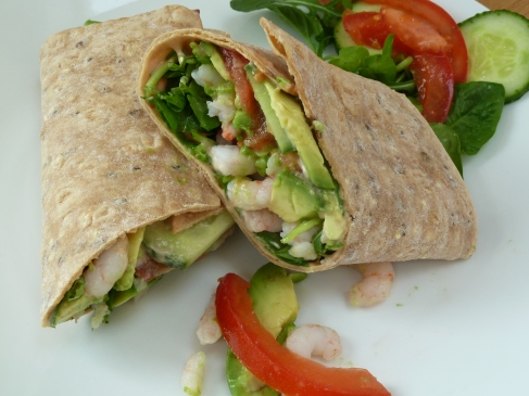 prawn and avocado wrap