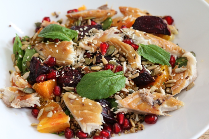 Roasted beetroot, blood orange and smoked mackerel with quinoa