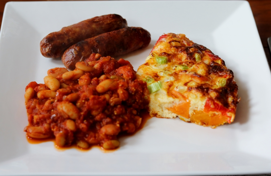 gf HECK sausages, frittata and homemade 'baked' beans